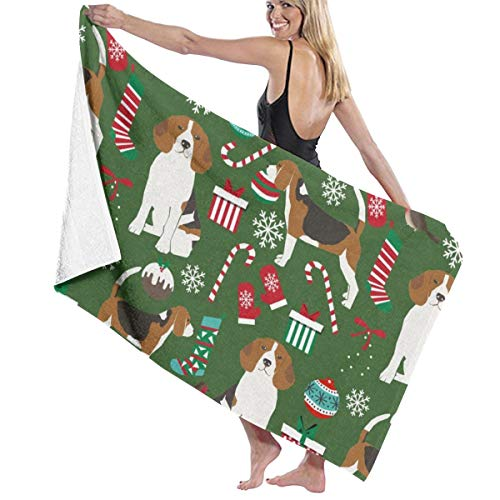 istmas Cute Beagle Dog Design Candy Canes Dogs Beach Towels for Women Large Microfibre Beach Blanket Towel for Kids 32 X 52 Inch ()
