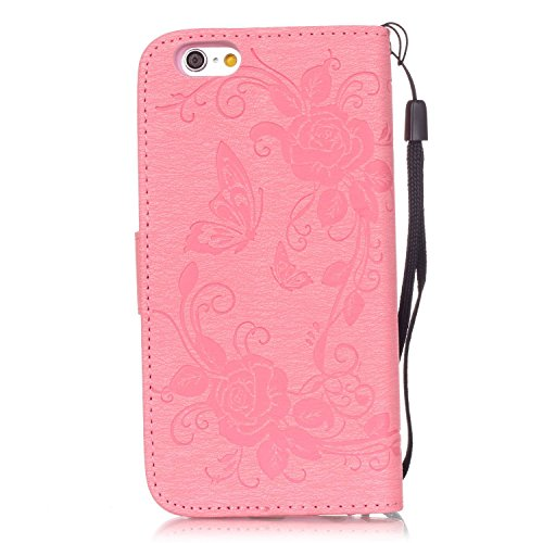 Hülle für iPhone 6S Plus, Tasche für iPhone 6 Plus, Case Cover für iPhone 6 Plus, ISAKEN Glitzer Strass Kristall Blume Schmetterling Muster Folio PU Leder Flip Cover Brieftasche Geldbörse Wallet Case  Schmetterling Rose Pink