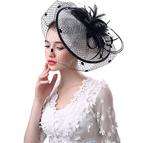 KAXIDY Damen Haarclips Hut Fascinator Hochzeits Haarschmuck mit Schleier Partei Hochzeit Hut Bowler Hut (Schwarz/Weiß)
