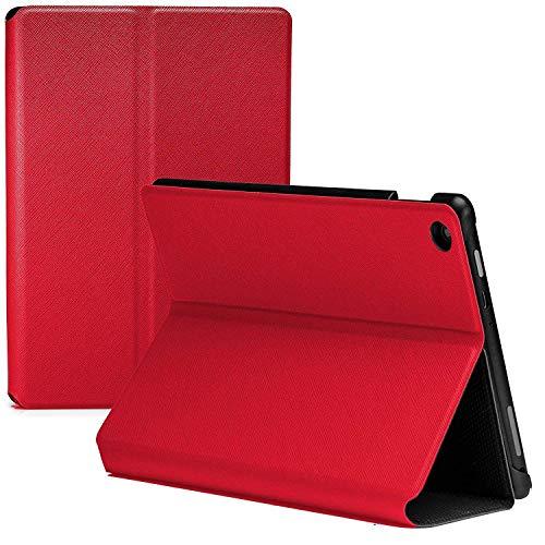 Forefront Cases Amazon Fire HD 8 Tablet (6th Generation - 2016 Modell) Hülle Schutzhülle Tasche Smart Case Cover Stand - Ultra Dünn Leicht Rundum-Geräteschutz - Smart Auto Schlaf Wach (ROT) (öffnen Clam)