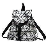 Honeymall Geometrisch Lingge Laser Quadratische Form Sequins Rucksack Daypack Backpacks Freizeitrucksack Schulrucksack Schultasche(Silber)