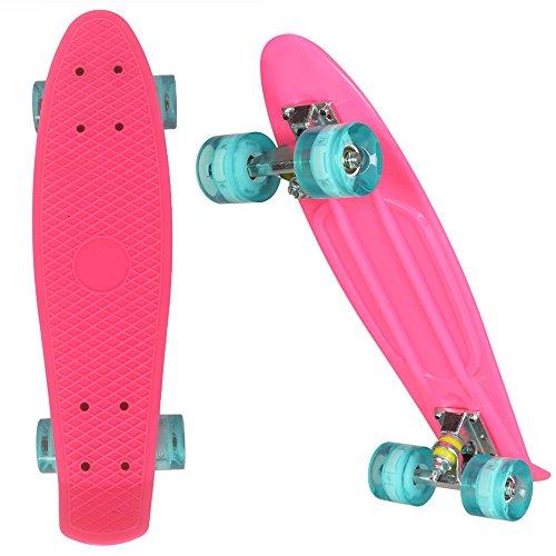 Cruiser Skateboard Komplett 55cm Mini Retro Skate Board blinkenden LED-rollen