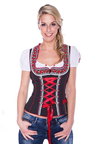 Krüger - Damen Trachten Mieder in Rot/Schwarz mit weißen Punkten aus 100{b4ea81c50ec4440fcf42d5f15531d195049f0b32edc8ad6c79ec7d9cda00349a} Baumwolle, Rotkäppchen (Artikelnummer: 31501-409), Größe:40, Farbe:S/Rot