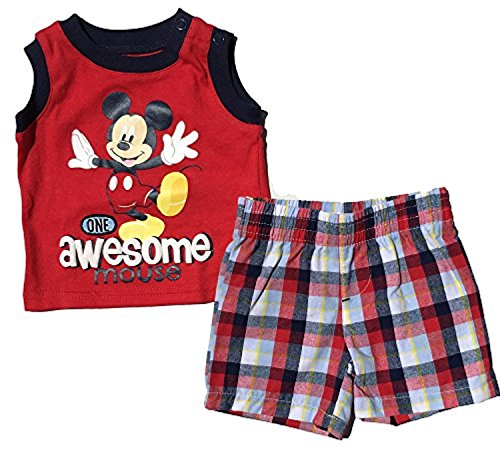 Baby Boys Mickey MouseTwo-piece Red Sleeveless Top and Shorts Set (NB)