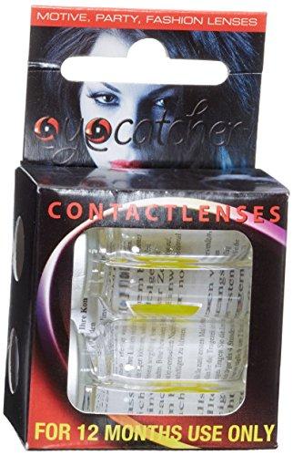 Eyecatcher Color Fun, Farbige Kontaktlinsen, Gelbe Krähe, Jahreslinsen weich, 2 Stück / BC 8.6 mm / DIA 14.5 mm / 0.00 Dioptrien