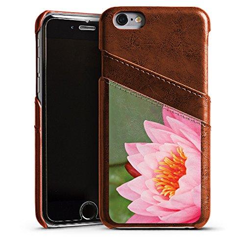 Apple iPhone 6 Housse Étui Silicone Coque Protection Nénuphar Fleur Fleur Étui en cuir marron