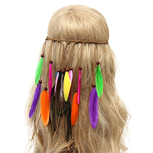 Petalum Böhmische Pfau Feder Kopfschmuck Stirnband Flechten Haar Band Stirnband Blei Seil für Abendkleider Fasching Karneval Fastnacht (B) -