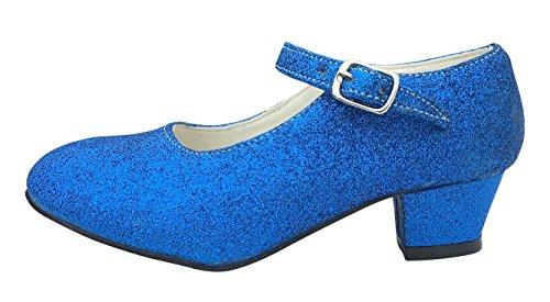 La Senorita Spanische Flamenco Schuhe - Königs blau glitzer (Größe 34 = Größe 32 DE - Innenmaß 21 cm)