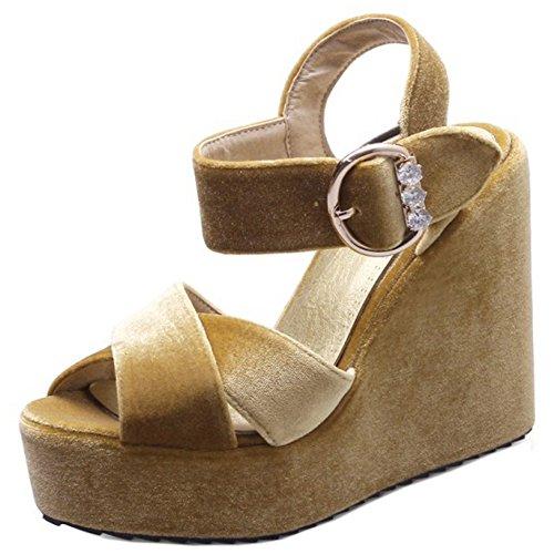 TAOFFEN Femmes Mode Peep Toe Sandales Compenses Talons Hauts Plateforme Sangle De Cheville Chaussures Jaune
