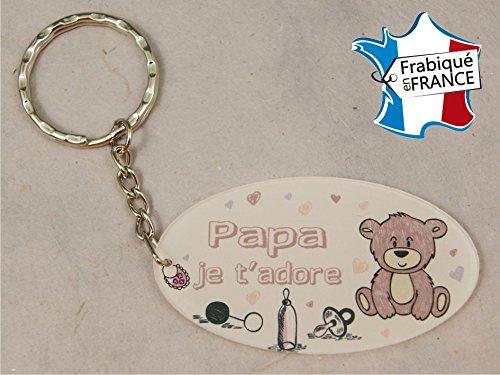Porte Clef - Papa je t'adore (Cadeau Baptême, fête des pères, anniversaire, Noël ...)