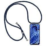 Caler [Coque avec Cordon Compatible pour Samsung Galaxy Note 8 + Verre trempé Écran Protecteur, Silicone Transparente Crystal Coussin d'Air Mince TPU Bumper Gel avec Chaîne Anti Choc Case(Bleu)