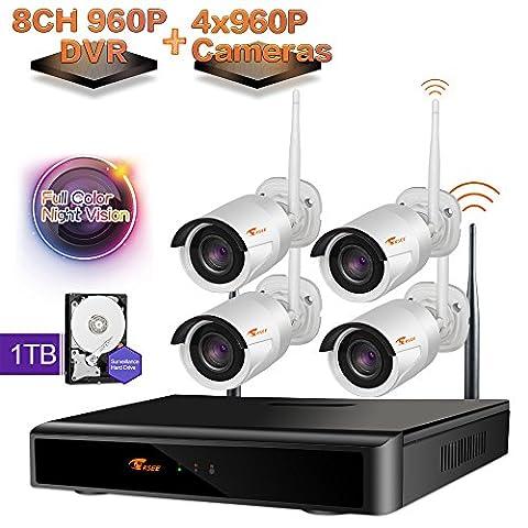[Farbenfroh nachts mit licht]CORSEE 8 Kanal 960P NVR+4x960P Farbe Nacht wifi Überwachungs Bausatz Funk Überwachungssystem HD 1.3MP Netzwerk Außen IP Überwachungskamera,wifi nvr kit,CCTV,1TB Festplatte