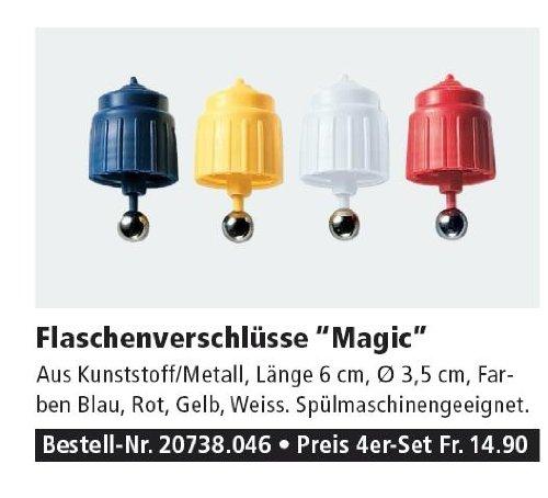 Betty Bossi: 4er Set Magic Flaschenverschlüsse und Flaschenausgießer - 4 Stück - verschiedene Farben - gelb, weiß, rot und blau - für jede Flasche mit Schraubverschluss - Patentausguß - Flaschenverschluss Verschluss - DIE Qualitätsmarke aus der Schweiz