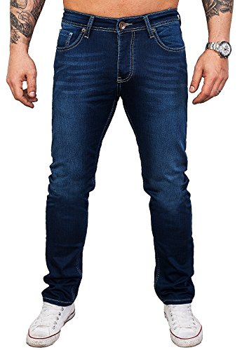 Rock Creek Designer Herren Jeans Hose Stretch Jeanshose Basic Slim Fit [RC-2115 - Blue Denim - W36 L30]