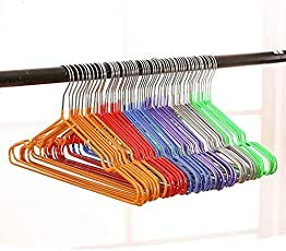 VASTRA Stainless Steel Metal Clothes Hanger for Clothes, Shirts Dress Space Saving (Random Colour) - Set of 10 pieces