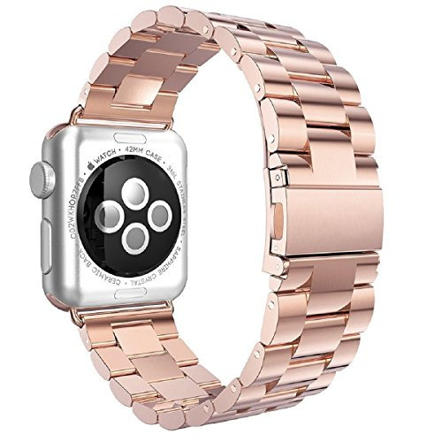 84 Serie Leder (Apple Watch Armband 42mm,Saxonia® Edelstahl Replacement Wrist Strap Band Uhrenarmband mit Metallverschluss für Apple Watch 42mm Series 2 / Series 1   Rosegold)