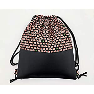 Kleiner Turnbeutel mit passender Kosmetiktasche, Frauenrucksack, mit Elefanten, Tierprint in Rot und Schwarz