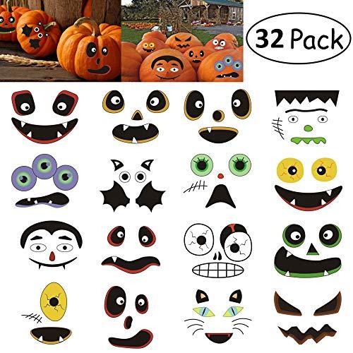 Kungfu Mall 2er Set Halloween Kürbis Sticker Halloween Party Sticker Süßes oder Saures Party Favors Goodie Bag Füller Halloween Kürbis Dekorationen