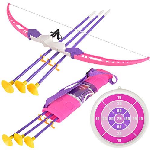 K9CK Bogen und Pfeile Set Kinder, Pfeil und Bogen Bogenschießen Training Spielzeug mit 3 Starken Saugnapfpfeilen für drinnen und draußen Spiele - Rosa