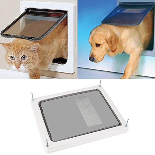 Sailnovo Hundeklappe Katzenklappe 4-Way Magnetic Lock, Große Katzen Hunde Haustiertüre Cat Flap große, 46*36*9cm Dog Cat Pet Door Flap Easy Install with Telescopic Frame with Heavy Duty Quiet Magnetic Frame, XXL weiß