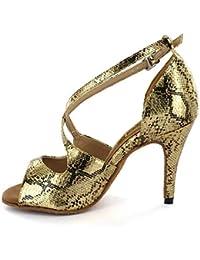 HCCY Zapatos de Baile Latino de Piel de Serpiente Dorada. Zapatos de Baile  Suaves de 94350fb599ce