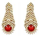 Touchstone indischen Bollywood Strass/Faux Rubin Rot Designer Schmuck Kronleuchter Ohrringe für Damen in Antik Gold Ton