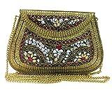 Embrague étnico Vintage Hecho a Mano Metal Mosaico Piedra Shell Bolso Bolso para Mujer Fiesta Bolsa Accesorios para Ocasiones Especiales
