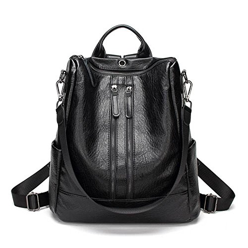 CATS Schaffell Handtaschen Mode Weichen Leder Rucksack Reise großen Rucksack,Schwarz,Doppelter Reißv -