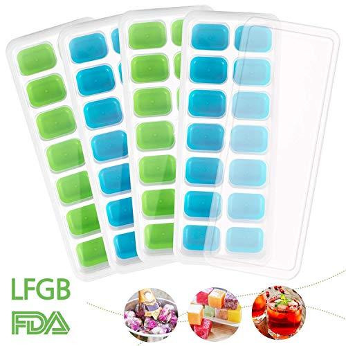 Eiswürfelform Slikon 4 Stück Eiswürfelbehälter mit Deckel Silikon Eiswuerfel Form 14-Fach Eiswürfel Silikonformen Ice Cube Ice Tray Eiswürfelbereiter Ohne BPA LFGB Zertifiziert (Blau&Grün)