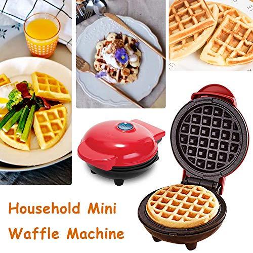 Mondayup Waffles Piastra, Mini Macchina per Ferro per Waffle per Uso Domestico, Torta elettrica per Biscotti per frittelle, Rivestimento Antiaderente, Piastre per Cottura Profonda