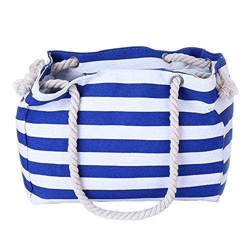 THEE Strand Schultertasche mit Innen Fachtasche und Seilgriffe Blau