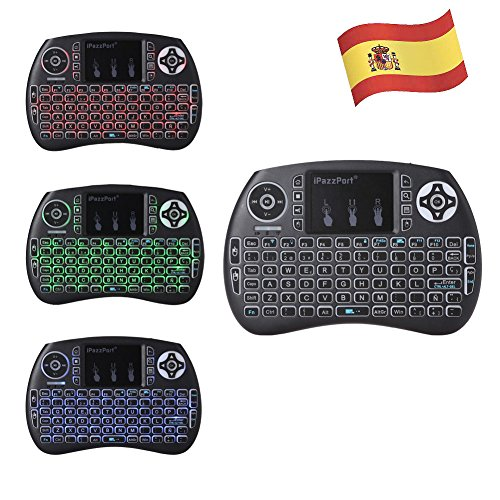 iPazzPort Mini teclado Inalámbrico (Layout Español) - 2.4GHz Mini Teclado retroiluminado ergonómico...