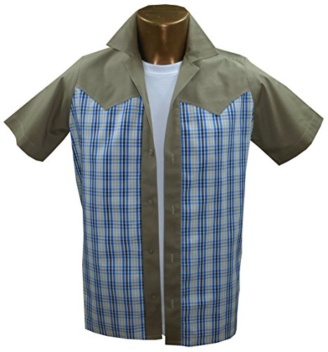 rockabilly-fashions-camisa-casual-cuadrados-para-hombre-beige-white-blue-x-large