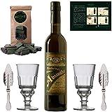 Absinth Set Moulin Vert | Original Absinthe aus Frankreich | Mit 2x Absinth-Gläsern / 2x Absinth-Löffeln / 1x Absinth-Zucker | (1x 0.5l)