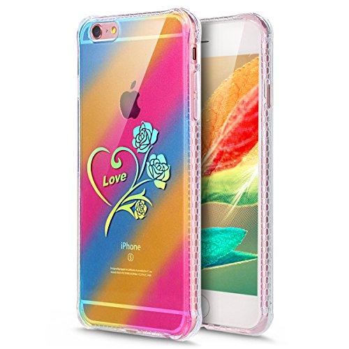 Coque iPhone 6, Étui iPhone 6S, iPhone 6/iPhone 6S Case, ikasus® Coque iPhone 6/iPhone 6S Créatif Dégradé coloré arc en ciel Plaquage des couleurs Housse de protection en caoutchouc flexible Silicone  Rose Amour