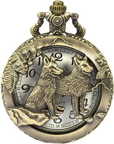 HSXQQL Taschenuhr Taschenuhr Steampunk Wolf Wolves Pattern Herren Chain Bronze Quartz, Bronze