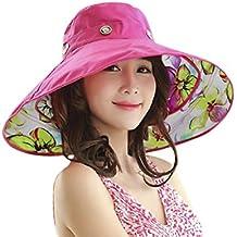 Gorra Visera anti-UV sombrero de playa Elégant Mujer Niña Capeline viaje plegable Large borde sombrero de sol/cubo sèchage rápido vacaciones de verano protección solar Sun Hat para primavera verano, Fleur Rose Rouge, talla única