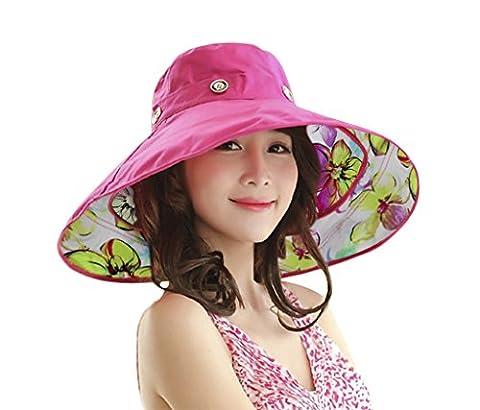 Casquette Visière Anti-UV Chapeau de Plage Elégant Femme Fille Capeline Voyage Pliable Large Bord Chapeau de Soleil/Seau Sèchage Rapide Vacances d'été Protection Solaire Sun Hat pour Printemps