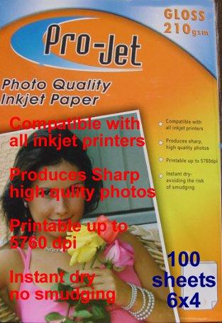 ProJet 6x4 Gloss Glossy 210 gsm photo inkjet printer paper 100 Cards Sheets