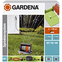Gardena 8221-20 Viereckregner versenkbar OS 140 Komplett-Set (Beregnete Fläche 2 - 140 qm; Reichweite 2 - 15 m; Sprengbreite bis 15 m; Sprenglänge bis 9,5 m) kann fast Ebenerdig montiert werden