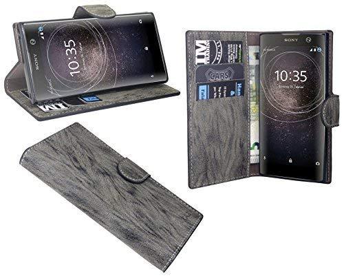 cofi1453 Elegante Buch-Tasche Hülle für Das Sony Xperia XA2 in Anthrazit Leder Optik Wallet Book-Style Cover Schale