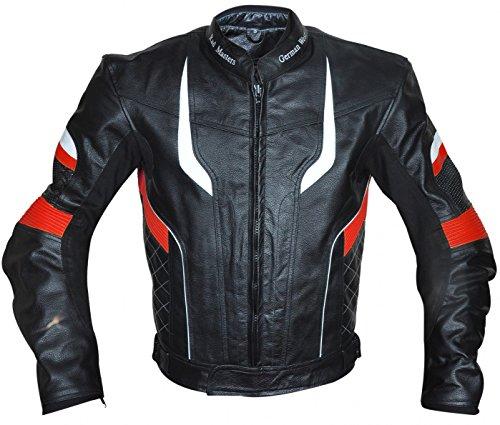 German Wear Motorradjacke Lederjacke Chopperjacke Cruiser, Rot, 2XL -