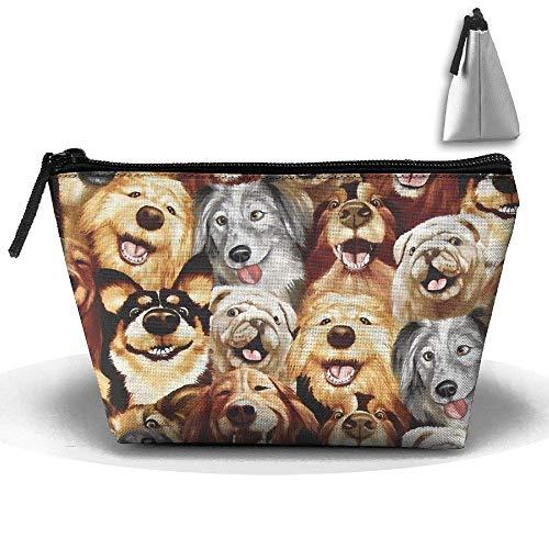 Frauen Make-up Tasche Tragbare Reise Kosmetiktasche Aufbewahrungsbox Puppy Party Netter Reißverschluss Trapez Geldbörse