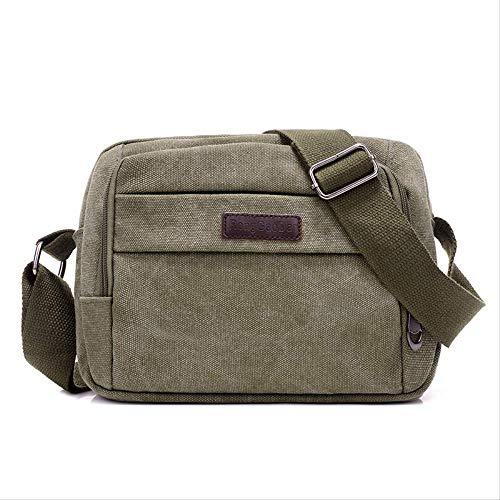 Herren Vintage Canvas Schultertasche, Casual Travel Schultertasche, Hochwertige Slash Bag, Outdoor-Laptop-Tasche 8 Zoll Army Green -