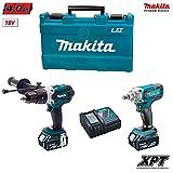 Kit Makita DHP458 + DTW190 (2 baterías x 4,0Ah + Cargador DC18RC + Maletín)