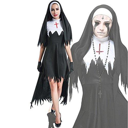 (DuuoZy Halloween Dreadful Zombie Nonnen Preacher Kostüm Cosplay Abend Schwalbenschwanz Kleid Frauen, Black, m)