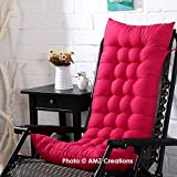 #2: AMZ Premium Microfibre Soft Home Cotton Cushion Long Chair Pad Cushion for Indoor/Outdoor Dining Home Garden Decor (Red,48 x 18 inches,Set of 1)