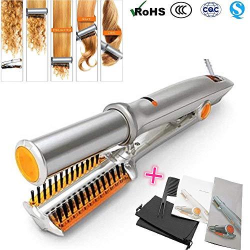 Bigoudis céramique thermostat Lisseur/boucleur rotatif 2-en-1 - En céramique - Pour cheveux secs et humides (Argent orange)