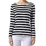 S-ZONE gestreiftes Longsleeve mit hohem Kragen für Damen Gr. Größe XX-Large= 42-48, White and Black(Wide Stripy)