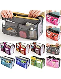 S R EXCLUSIVE Women Travel Insert Organizer Compartment Bag, Multi-Pocket Handbag Storage Purse Large Liner Tidy Bag Pouch, 13 Pockets (Assorted Color)
